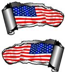 Small Pair Ripped Torn Metal Gash Design & American Stars & Stripes US Flag Car Sticker 93x50mm each